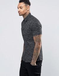 Черная зауженная рубашка с принтом и короткими рукавами ASOS - Черный