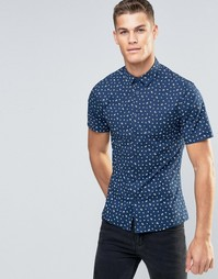 Темно-синяя рубашка с цветочным принтом и короткими рукавами ASOS