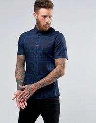 Темно-синяя рубашка суперзауженного кроя с принтом пейсли и короткими Asos