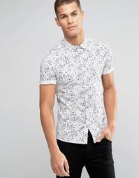 Рубашка зауженного кроя с короткими рукавами и принтом ASOS - Белый