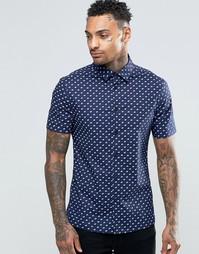Темно-синяя облегающая рубашка с принтом и короткими рукавами ASOS
