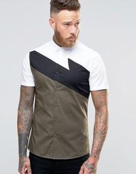 Белая облегающая рубашка с короткими рукавами ASOS - Белый