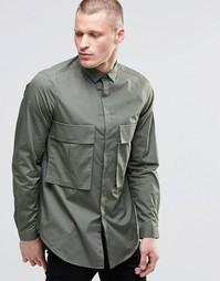 Oversize-рубашка цвета хаки с карманами и длинными рукавами ASOS