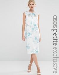Кружевное платье‑футляр с кроп‑топом и цветочным принтом ASOS PETITE S