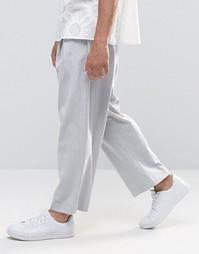 Широкие укороченные брюки в тонкую полоску ASOS - Серый