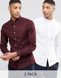 2 оксфордские рубашки с длинными рукавами (белая и бордовая) ASOS - СК