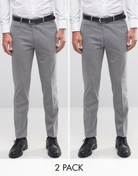 ASOS 2 Pack Skinny Smart Trousers With Belt In Grey SAVE 17%