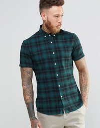 Зеленая клетчатая рубашка суперузкого кроя с короткими рукавами ASOS