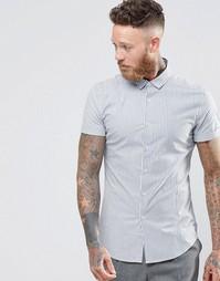 Облегающая рубашка в синюю полоску с короткими рукавами ASOS - Белый
