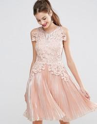 Приталенное платье миди цвета металлик с кружевной аппликацией ASOS SA