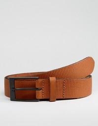 Кожаный ремень с тисненым дизайном ASOS - Коричневый