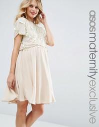 Короткое приталенное платье для беременных и кормящих ASOS Maternity N