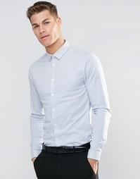 Голубая зауженная рубашка в тонкую полоску с длинными рукавами ASOS