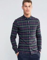 Облегающая рубашка с длинными рукавами в клетку цвета хаки ASOS - Хаки