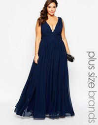 Платье макси с глубоким вырезом Forever Unique Plus - Темно-синий