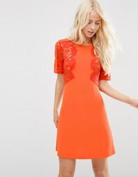 Цельнокройное платье с кружевной вставкой ASOS - Оранжевый