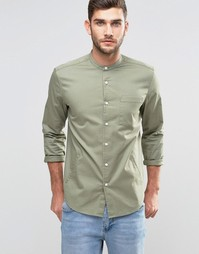 ASOS Regular Fit Shirt With Grandad Collar And Side Pockets With Long