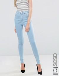 Голубые джинсы скинни с завышенной талией ASOS TALL Ridley - Синий