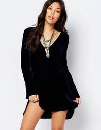 Цельнокройное платье с рукавами-колокол Glamorous - Темно-синий бархат