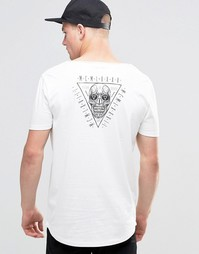 Длинная футболка с принтом черепа ASOS - Экрю