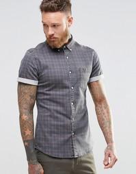Бордовая джинсовая рубашка скинии с короткими рукавами ASOS