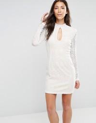 Облегающее платье с длинными кружевными рукавами и высокой горловиной Glamorous