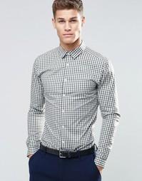 Рубашка скинни цвета хаки в клеточку с длинными рукавами ASOS - Хаки