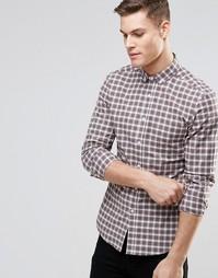 Облегающая рубашка в клетку тартан с длинными рукавами ASOS - Бежевый