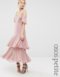 Платье макси с оборками ASOS PETITE Premium - Blush