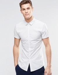 Рубашка скинни в тонкую полоску с короткими рукавами ASOS - Белый