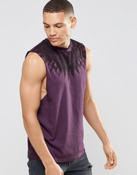 Удлиненная футболка без рукавов с принтом на кокетке ASOS