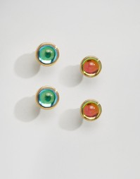 Две пары сережек-гвоздиков с камнями Me & Zena - Золотой