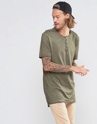 Длинная футболка с воротником с застежкой на пуговицах ASOS