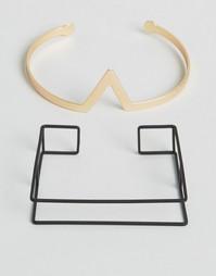 Черный и золотистый браслеты с геометрическим дизайном ASOS - Золотой