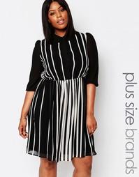 Короткое приталенное платье‑рубашка в полоску Koko Plus