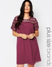 Свободное платье размера плюс с кружевным топом Lovedrobe - Ягодный