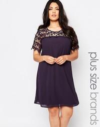 Свободное платье размера плюс с кружевным топом Lovedrobe - Угольный