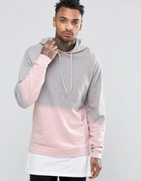 Розовое худи с эффектом деграде ASOS - Серый меланж