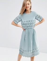 Двухслойное платье миди вышивкой ASOS - Зеленый шалфей