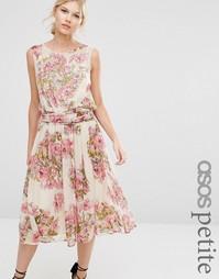 Платье миди с цветочным принтом и отделкой ASOS PETITE SALON - Мульти