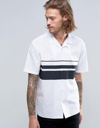 ASOS Shirt In White With Placement Stripe And Revere Collar In Regular