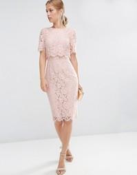 Кружевное платье-футляр миди с укороченным топом ASOS - Телесный