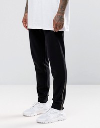 ASOS Skinny Joggers With Gold Zip Cuffs - Черный