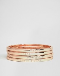 Золотисто-розовые браслеты с надписями Monki - Rosegold
