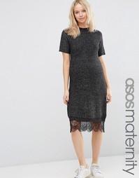 Платье-джемпер для беременных с кружевной кромкой ASOS Maternity