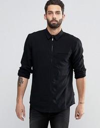 Рубашка классического кроя на молнии Bellfield - Черный