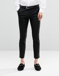 Черные строгие брюки укороченной длины ASOS - Черный