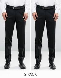 2 пары черных зауженных брюк ASOS, СКИДКА 17% - Черный