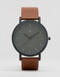Черные часы с коричневым кожаным ремешком ASOS Minimal - Коричневый