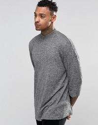 ASOS Slub Oversized 3/4 Sleeve T-Shirt With Turtle Neck - Серый